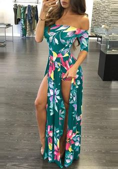Feiterawn 2018 Summer Women Fashion Slash Neck Bohemia Sexy Floral Print Beach Plus size Casual Maxi Long Dress Vestidos Plus Size Maxi Dresses, Summer Dresses, Dresses Dresses, Floral Dresses, Cheap Dresses, Casual Dresses, Vestido Maxi Floral, Boho Chic, Casual Chic