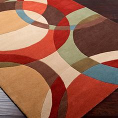 5 x 8 @Overstock - This geometric design rug features hand carved details. Shades of brown, red and blue highlight this hand-tufted rug.http://www.overstock.com/Home-Garden/Hand-tufted-Mayflower-Chocolate-Wool-Rug-5-x-8/5509506/product.html?CID=214117 $191.99