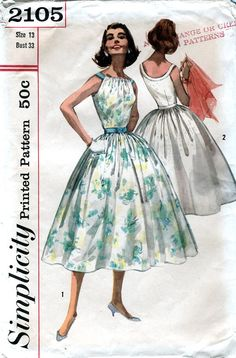 Simplicity 2105 Vintage 50s Junior and Misses' by retrowithlana