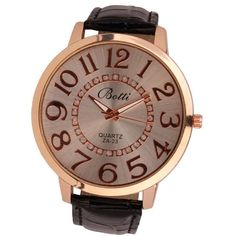 Relogio Feminino Gift Saat Clock Reloj Mujer Womens Fashion Numerals Golden Dial Leather Analog Quartz Watch 2017
