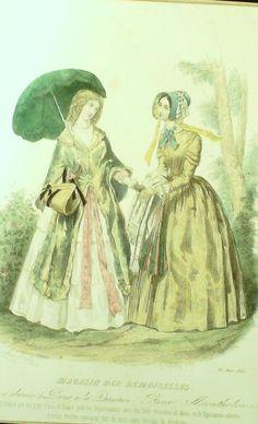 GRAVURE de MODE AUTHENTIQUE-M168-MAGASIN DEMOISELLES-ROBE DE LOISIRS-1845