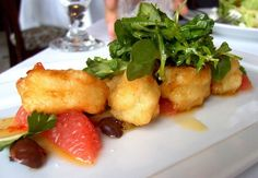 Coquette's Gulf shrimp, sambals, nicoise olives and grapefruit salad.