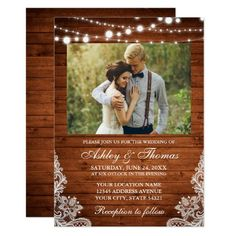 Rustic Wedding Wood Lights Lace Photo Invitation Country Wedding Invitations, Beautiful Wedding Invitations, Watercolor Wedding Invitations, Rustic Invitations, Shower Invitations, Wedding Stationery, Wedding Invitations With Pictures, Wedding Envelopes, Shower Favors