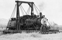 southern pacific owens valley photos | Engine No. 8 being turned on the gallows.