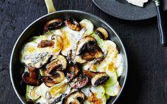 Mushrooms, potatoes and melting taleggio