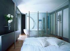 open plan bedroom/bathroom