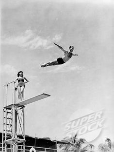 SuperStock Stock Photography, Rights Managed & Royalty Free Images Diving Springboard, Fitness Photos, Vintage Photographs, Photos Vintage, Travel Images, Summer Art, Street Photography, Swimming, Stock Photos