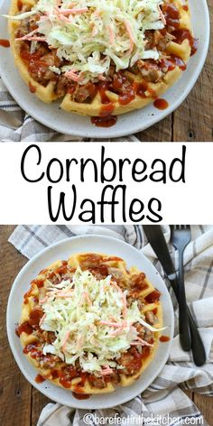 Nutritious Snack Tips For Equally Young Ones And Adults Cornbread Waffles Topped With Pulled Pork And Coleslaw Are A Hearty Dinner You'll Want To Try This Fall Get The Recipes At Cornbread Waffles, Savory Waffles, Waffle Maker Recipes, Waffle Toppings, Brunch Recipes, Breakfast Recipes, Dinner Recipes, Crepe Recipes, Mexican Breakfast