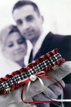 She can customize for your man's favorite team or hobby. How neat is that!  Handmade Alabama Roll Tide Wedding Garter by LeonoraB on Etsy, $30.00