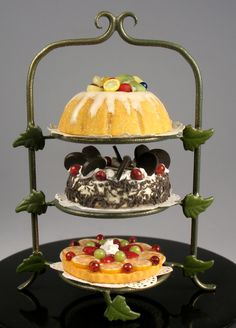 J. Getzan Dollhouse Miniatures Miniature Cakes Desserts Pastry Stands
