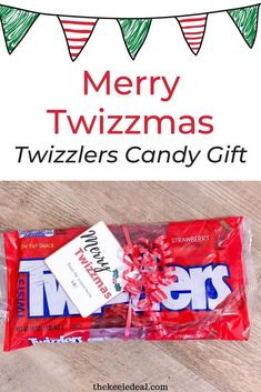 Fun and Easy Twizzlers Christmas Gift. The perfect holiday gift for friends, neighbors and teachers. Best Christmas Gifts, Holiday Gifts, Christmas Crafts, Christmas Decorations, Neighbor Gifts, Candy Gifts, Pop Tarts, Stocking Stuffers, Gifts For Friends