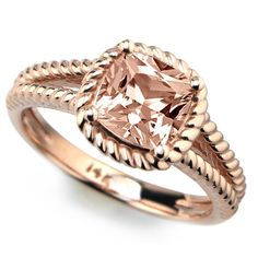 One of our latest additions! #morganitering #gemstonering #peachmorganite #engagementring #jewelry #rosegold #pinkgold