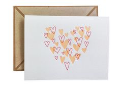 Heart of Hearts letterpress card  single by inkmeetspaper on Etsy