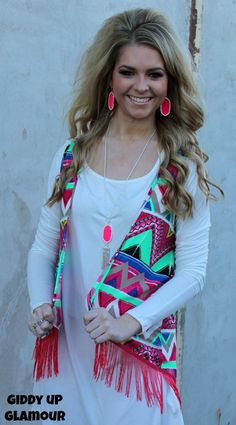 Adult Hooked on You Aztec Vest with Fringe in Hot Pink