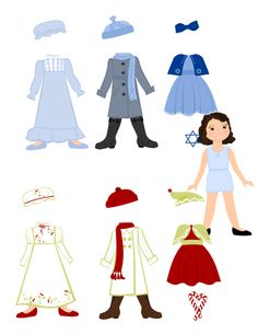 Free Christmas/Hannukah paper doll printables!  Doll and many outfits!
