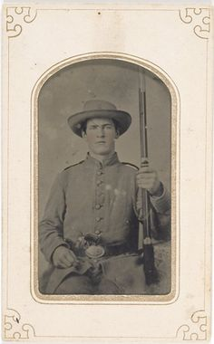 591f17b9326 Tintype of Double Armed Civil War Union Private holding .69 caliber musket  and small Colt
