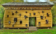 "Wooden sculpture, ""Noah's Ark"" by Józef Wilkoń, village of Radziejowice, province of Masovia (Mazowsze), Poland (Polska)"