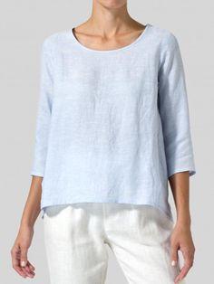 Women Casual Loose Tops Tunic Blouse Shirt – linenwe fashion t shirts believe shirt shirts for teen womens t shirts Tunic Blouse, Shirt Blouses, Shirts, Bleu Pale, Loose Tops, Casual Tops, Types Of Sleeves, Blouses For Women, Clothes