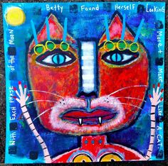 Tracey Ann Finley Original Outsider Raw Folk Painting Red Cat Portrait Betty #OutsiderArt