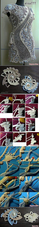 How to Crochet a WOW Crochet Dress ___________________________ Туника связанная ирландским кружевом *Гармония космоса*.