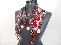 Black Red Scarf  Cotton scarf  Turkish scarf  Oya by AsuhanScarf, $20.00