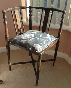 Genial Shabby Edwardian Corner Chair With Mixed Wood Inlay On Etsy, £55.00