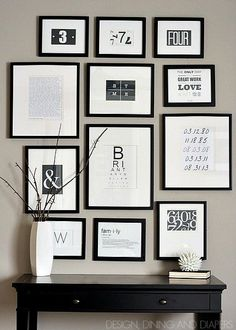 Black and white typography gallery wall from Design, Dining, and Diapers