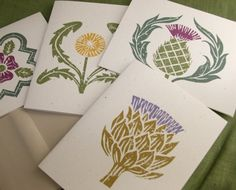 Block print cards by Giardino... love the motifs and the unique botanical subjects