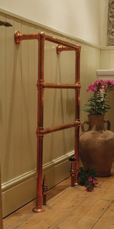 Beckingham Towel Rail (Copper Finish) in period home www.tradscastironradiators.co.uk
