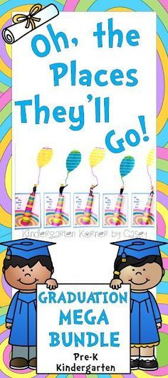 Kindergarten Korner by Casey: Oh, the Places They'll Go Themed Graduation MEGA Bundle for Preschool or Kindergarten End of the Year Celebration Kindergarten Graduation Oh, the Places You'll Go Dr. Seuss Themed Graduation Teacher's Script Balloon Writing Templates Craft Editable diplomas, invitations, program, bulletin board