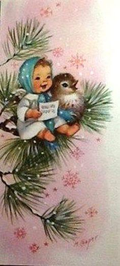 Child and bird singing on a branch in the snow