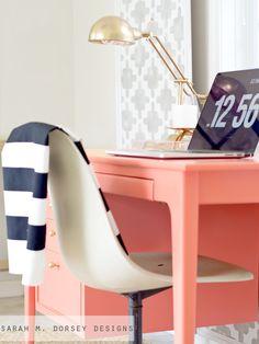 Coral Desk + Tip for Reusing Old Hardware