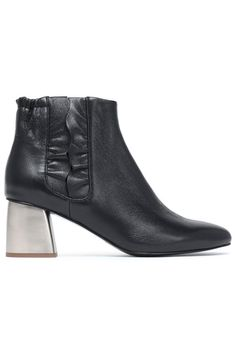 bd2d060bd86 JIL SANDER NAVY Ruffle-trimmed leather ankle boots Leather Ankle Boots