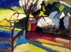 Wassily Kandinsky (1866-1944) Herbstlandschaft mit Baum - Autumn landscape with tree(1910) oil on board