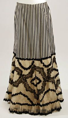 Black and white striped and lace Petticoat  ca. 1900.