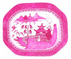 Blue Willow in Bright Pink Chinoiserie Platter by thepinkpagoda, $30.00