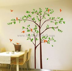 Mother And Son Tree With Playing Birds Wall Decals – WallDecalMall.com