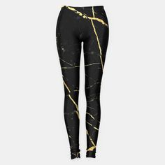 Black and Gold Marble leggings Grunge Clothing funny by SIXIATAX