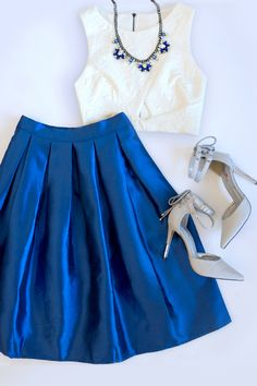 Boxed In Royal Blue Pleated Skirt