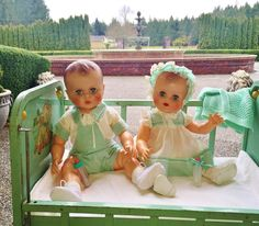 Vintage dolls boy & girl 1950 AE Allied Eastern Twins