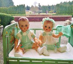Vintage dolls boy & girl 1950 AE Allied Eastern Twins