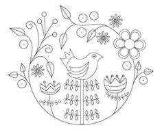 Embroidery Pattern from The Floss Box | Folk Art Bird Embroidery 2. jwt