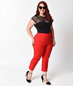 Fashion Bug Women Plus Size Glamour Bunny Plus Size Rockabilly Cherry Red High Waist Stretch Capri Pants www.fashionbug.us #PlusSize #FashionBug #vintage #rockabilly #pinup 1X 2X 3X 4X 5X 6X