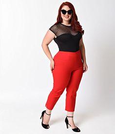 Fashion Bug Women Plus Size Glamour Bunny Plus Size Rockabilly Cherry Red High Waist Stretch Capri Pants www.fashionbug.us #PlusSize #FashionBug #vintage #rockabilly #pinup 1X 2X 3X 4X 5X 6X