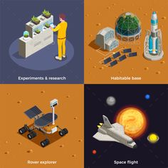 Buy Mars Colonization Design Concept by macrovector on GraphicRiver. Mars colonization design concept set of space flight rover explorer research experiments habitable base isometric. Colonising Mars, Habitats, Marie, Infographic, Design Inspiration, Concept, Templates, Ideas, Models