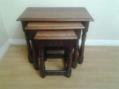 Vintage Priory oak nest of three coffee/occasional tables