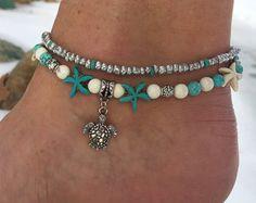 Strand Anklet, Turtle Anklet, Starfish Anklet, nautische Anklet, Ankle Bracelet, Anklet, Beaded enkelbandje