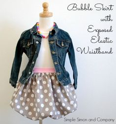 Bubble Skirt with exposed elastic waistband - use headbands to make the waistband! Genius.