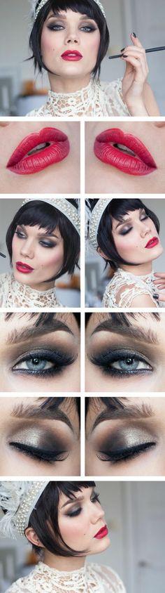 comment imiter la tenue gatsby avec son maquillage, femme au maquillage vintage