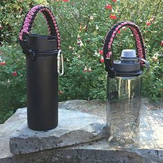 Best Hydro Flask Handle - Paracord Survival Strap - Also Fits Nalgene, Nathan & Most Wide Mouth Water Bottles - #1 Camping, Hiking, Sports &…